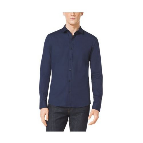 MICHAEL KORS MEN Slim-Fit Stretch-Cotton Shirt MIDNIGHT
