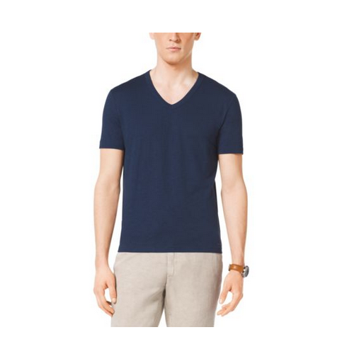 MICHAEL KORS MEN V-Neck Cotton T-Shirt ATLANTIC BLUE