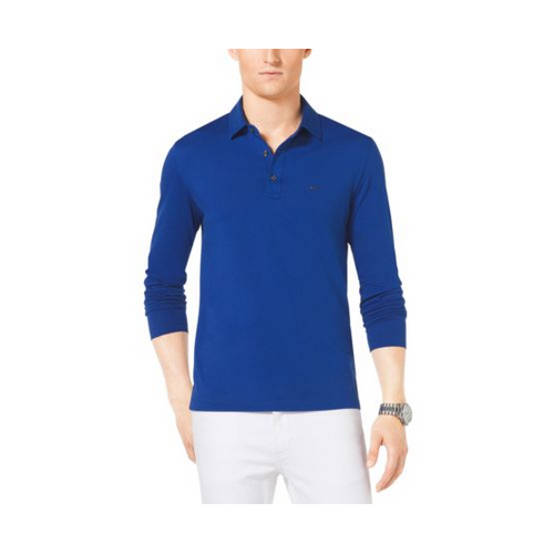 MICHAEL KORS MEN Long-Sleeve Cotton Polo Shirt COBALT