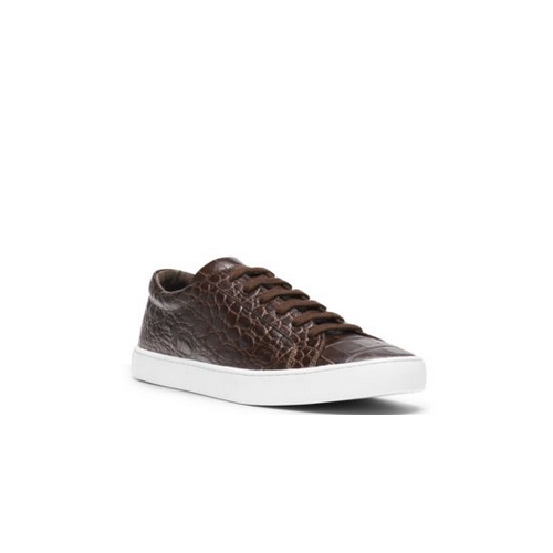 MICHAEL KORS MEN Jake Embossed-Leather Sneaker CHOCOLATE