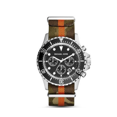 MICHAEL KORS Everest Silver-Tone Grosgrain Watch