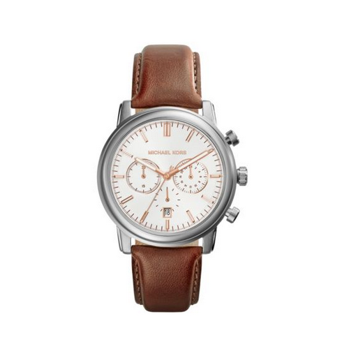 MICHAEL KORS Pennant Leather Strap Silver-Tone Leather Watch