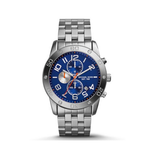 MICHAEL KORS Mercer Navy And Silver-Tone Watch