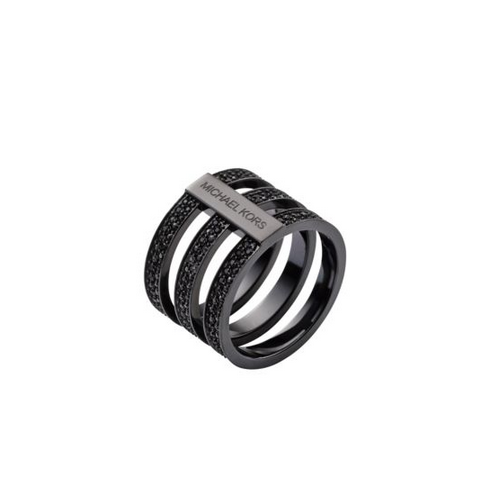 MICHAEL KORS Pavé Black-Tone Ring BLACK