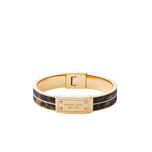 MICHAEL KORS Logo Plaque Tortoise Acetate And Gold-Tone Bangle