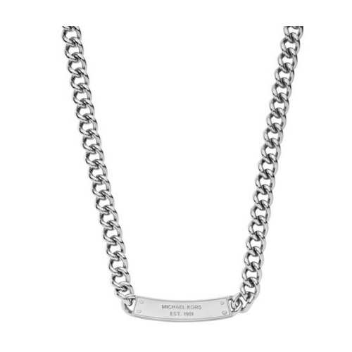 MICHAEL KORS Pavé Plaque Silver-Tone Chain-Link Necklace