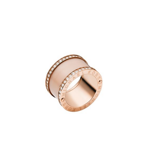 MICHAEL KORS Pavé Rose Gold-Tone And Acetate Ring
