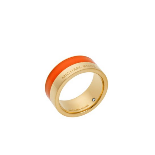 MICHAEL KORS Gold-Tone And Orange-Accented Ring