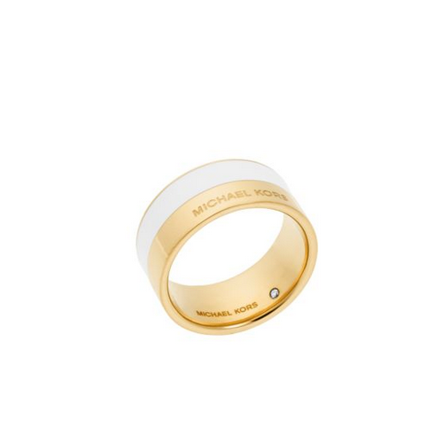 MICHAEL KORS Gold-Tone And White-Accented Ring