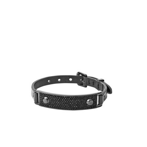 MICHAEL KORS Pavé Plaque Leather Buckle Bracelet