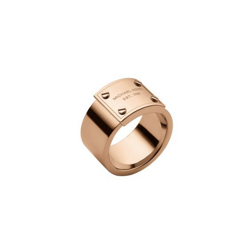 MICHAEL KORS Rose Gold-Tone Logo Plaque Ring