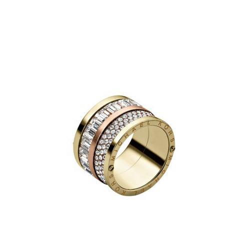 MICHAEL KORS Pavé Two-Tone Barrel Ring