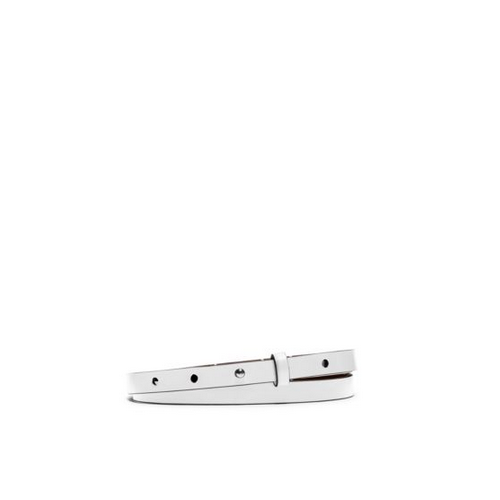 MICHAEL KORS Skinny Leather Belt OPTIC WHITE
