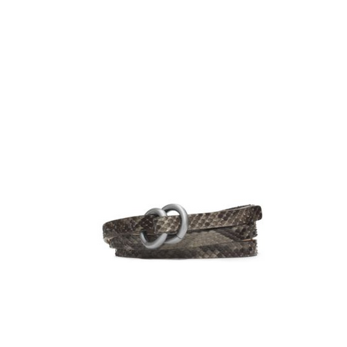 MICHAEL KORS Double-Ring Python Belt SLATE