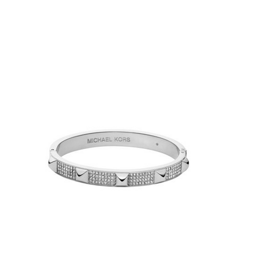 MICHAEL KORS Pavé Studded Silver-Tone Bangle
