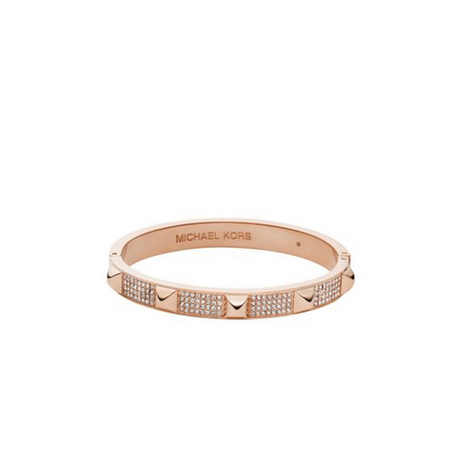 MICHAEL KORS Pavé Studded Rose Gold-Tone Bangle