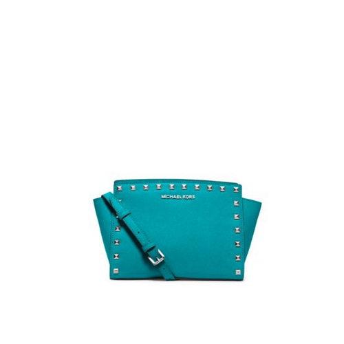 MICHAEL MICHAEL KORS Selma Medium Studded Leather Messenger TURQUOISE