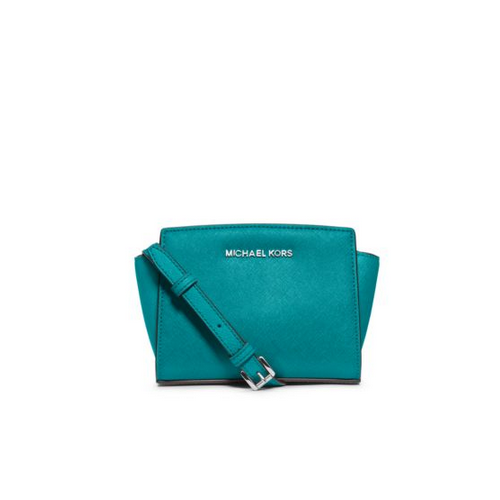 MICHAEL MICHAEL KORS Selma Saffiano Leather Mini Messenger TURQUOISE