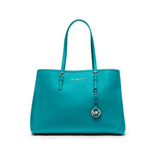 MICHAEL MICHAEL KORS Jet Set Travel Large Saffiano Leather Tote TURQUOISE