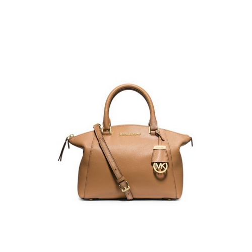 MICHAEL MICHAEL KORS Riley Small Pebbled-Leather Satchel PEANUT