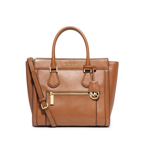 MICHAEL MICHAEL KORS Colette Large Leather Satchel PEANUT