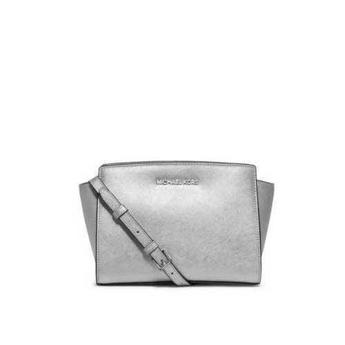 MICHAEL MICHAEL KORS Selma Medium Metallic Leather Messenger SILVER