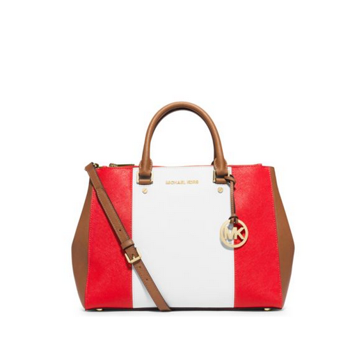 MICHAEL MICHAEL KORS Sutton Large Color-Block Leather Satchel MANDARIN/WHITE/LUGGAGE