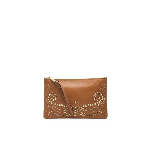 MICHAEL MICHAEL KORS Rhea Studded Leather Large Zip Clutch LUGGAGE