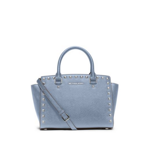 MICHAEL MICHAEL KORS Selma Studded Saffiano Leather Satchel PALE BLUE