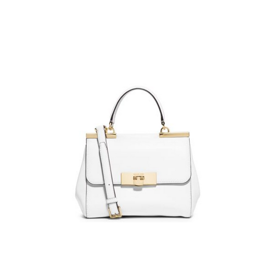 MICHAEL MICHAEL KORS Marlow Small Leather Satchel OPTIC WHITE