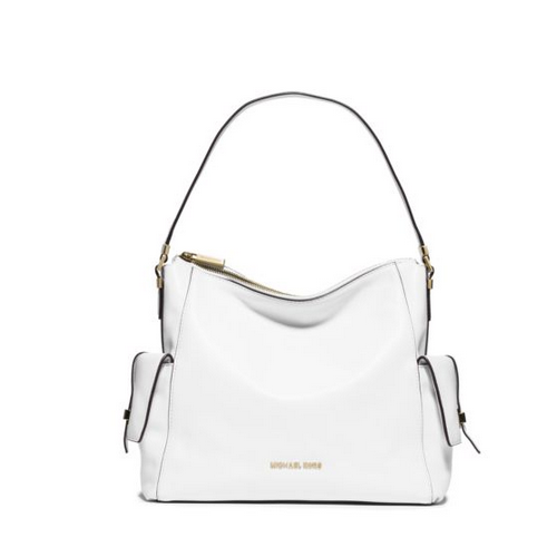 MICHAEL MICHAEL KORS Marly Large Leather Shoulder Bag OPTIC WHITE
