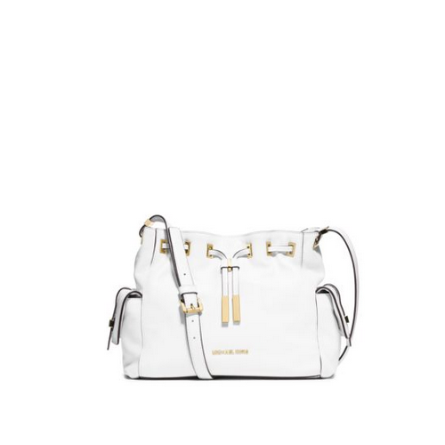 MICHAEL MICHAEL KORS Marly Medium Drawstring Leather Messenger OPTIC WHITE