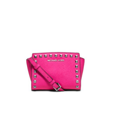 MICHAEL MICHAEL KORS Selma Mini Studded Saffiano Leather Messenger