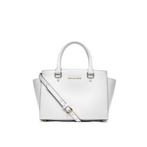 MICHAEL MICHAEL KORS Selma Saffiano Leather Medium Satchel OPTIC WHITE