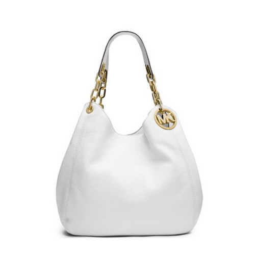 MICHAEL MICHAEL KORS Fulton Large Leather Shoulder Bag OPTIC WHITE