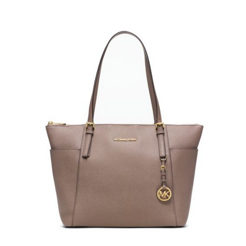 MICHAEL MICHAEL KORS Jet Set Large Top-Zip Saffiano Leather Tote DARK DUNE