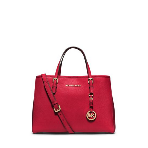 MICHAEL MICHAEL KORS Jet Set Travel Saffiano Leather Medium Tote CHILI