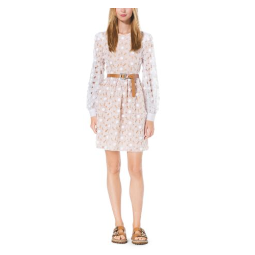 MICHAEL KORS COLLECTION Crystal-Embroidered Floral Organza Dress OPTIC WHITE