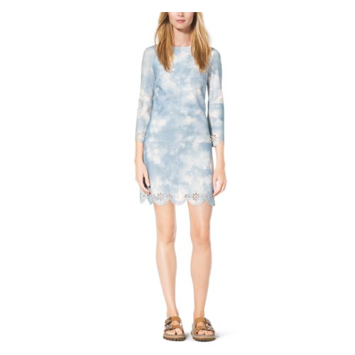 MICHAEL KORS COLLECTION Tie-Dye Scalloped Suede Shift Dress CORNFLOWER