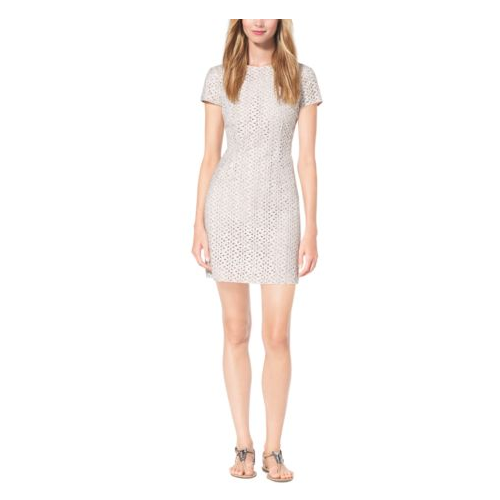 MICHAEL KORS COLLECTION Eyelet-Embroidered Silk-Jacquard Dress OPTIC WHITE