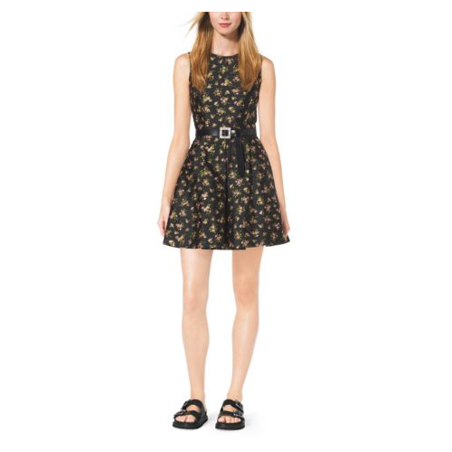 MICHAEL KORS COLLECTION Crystal-Embellished Silk-Jacquard Dress BLACK/OLEANDER