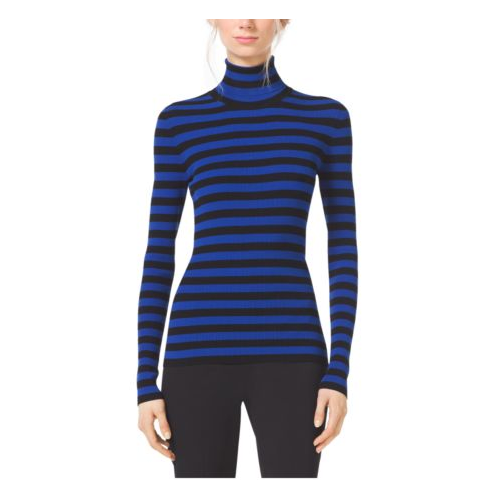 MICHAEL KORS COLLECTION Striped Stretch-Knit Turtleneck COBALT/BLACK
