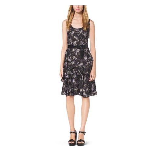 MICHAEL KORS COLLECTION Floral-Print Silk-Twill Dress BLACK/LEAF