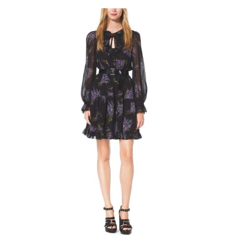 MICHAEL KORS COLLECTION Floral-Print Silk-Georgette Dress BLACK/WISTERIA