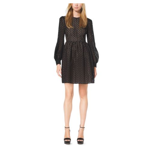 MICHAEL KORS COLLECTION Eyelet-Embroidered Silk-Jacquard Bell Dress BLACK