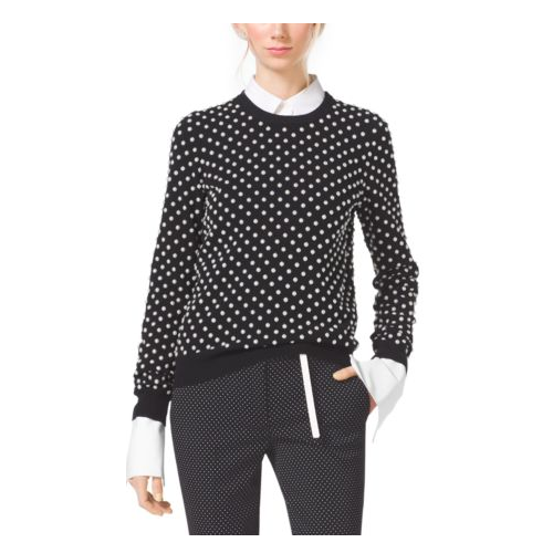 MICHAEL KORS COLLECTION Pearl-Embroidered Cashmere Sweater BLACK