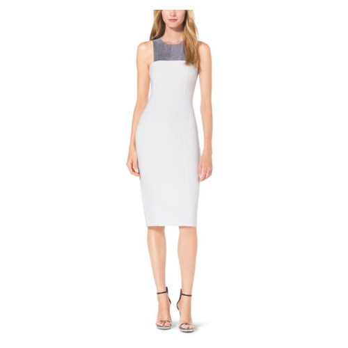 MICHAEL KORS COLLECTION Sequin-Paneled Double-Face Bouclé-Crepe Sheath Dress WHITE