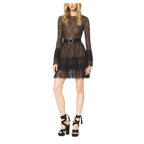 MICHAEL KORS COLLECTION Beaded Chantilly Lace Ruffle Mini Dress BLACK