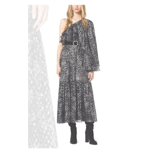 MICHAEL KORS COLLECTION Bohemian Floral Metallic Fil Coupè Dress SLATE