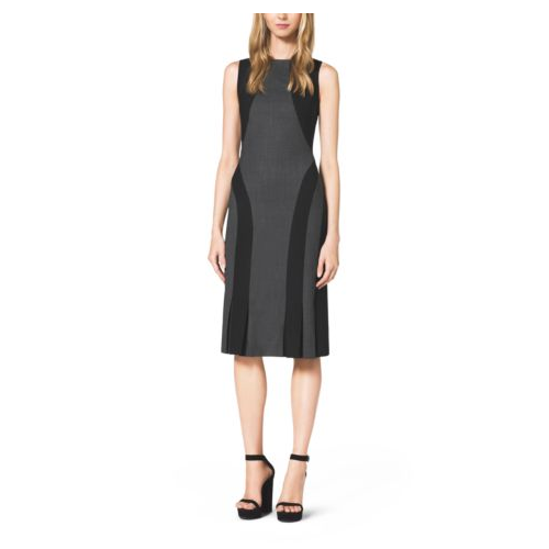 MICHAEL KORS COLLECTION Color-Block Seamed Stretch-Wool Dress CHARCOAL